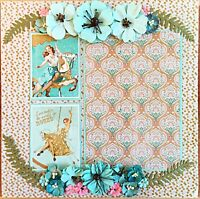 Handmade Carousel Pin-Up Girls & Flowers 12x12 Premade Scrapbook Page Layout