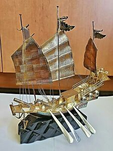 👍19TH CENTURY CHINA CHINESE STERLING SILVER SAILING JUNK SHIP DETACHABLE OARS纯银