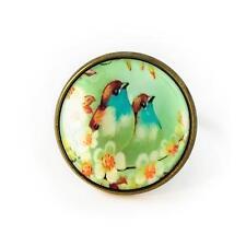 Vintage Blue Love Birds & Daisy Flowers Painting Antique Bronze Glass Retro Ring