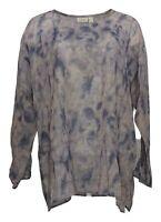 LOGO by Lori Goldstein Women's Top Sz M Printed Gauze Tie-Dye Purple A307253