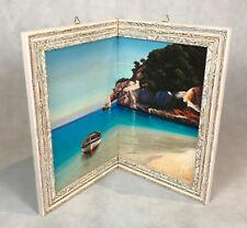 eckleinwandbild peintures cadre en bois bateau de pêche eckbild italien avec