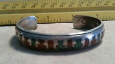 Vintage Sterling Silver Navajo Turquoise/Coral Cuff Bracelet