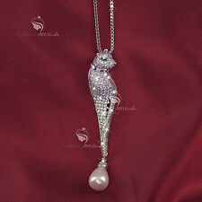 pendant necklace 18k white gold made with SWAROVSKI crystal cat leopard long