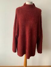 New Look Fluffy Oversize Burgundy Jumper High Neck Size L Wide Sleeves