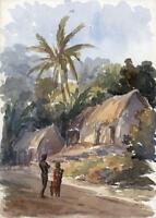 FIGURES & HOUSES CEYLON - SRI LANKA Antique Watercolour Painting c1920