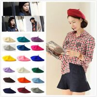 Fashion Women Beanie Beret Winter Warmer French Artist Hats Ski Caps Solid Gifts
