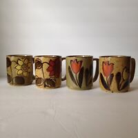 Lot of 4 Vintage Handpainted Stoneware Mugs Speckled Wildflower Coffee Cup Set