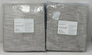 "Pottery Barn Seaton Textured BLACKOUT Drape Curtain (2) ~ 50"" x 108"" ~ Neutral"