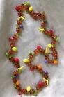 Vintage 29 Amber Beads & Plastic Fruit Salad Necklace Banana Lemon Cherry Apple