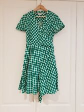 BODEN WRAP DRESS SIZE 12R Green work once 1950s