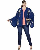 DG2 by Diane Gilman Embroidered Kimono Jacket Co Oat & Navy Pic Sz XS-XL  645041