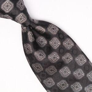 Josiah France Mens Silk Necktie Black Gray Mosaic Check Weave Woven Tie Italy