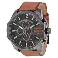 Diesel Mega Chief Black Dial Brown Leather Men's Quartz Watch DZ4343