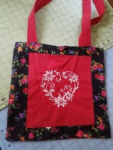 Tote Bag Embroidered handmade Shopping Bag Reversible washable flowers heart