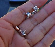 .75 H/VS-SI1 princess diamond earrings and pendant Set 14k WG 2 tone pendant