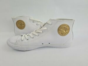 Converse Chuck Taylor Limited Edition Gold Stamp High Top Sneakers White Sz 7.5