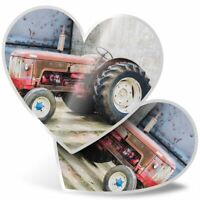 2 x Heart Stickers 7.5 cm - Red Vintage Tractor Farming Agriculture  #24101