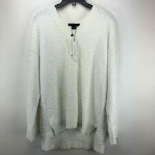 Sanctuary Women's White V-Neck Teddy Sweater XXL