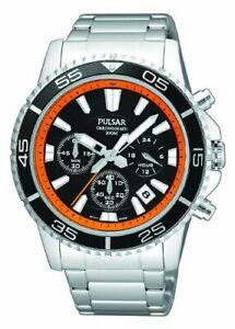 Pulsar Watch PT3035 Men's Bracelet Chronograph NWT Retail $150 Water resistant