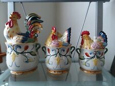 NIB FITZ AND FLOYD RICAMO ROOSTER CHIKEN CANISTER SET