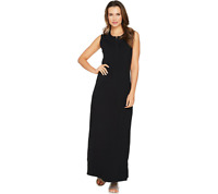 New $44 value Denim & Co. Size PS Black Sleeveless Perfect Jersey Maxi Dress