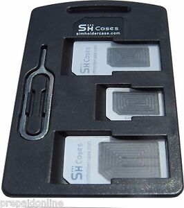 LOT of 5 X SIM Card Holder Cases with 3 sim card adapters Iphone Pin, travel kit