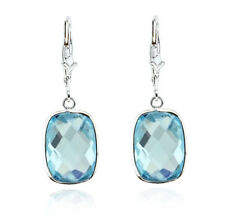 14K White Gold Dangle Earrings With Cushion Cut Blue Topaz Gemstones Drop