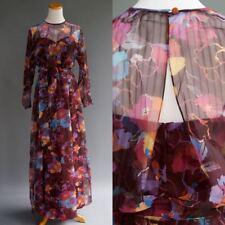 Vintage 70s Miss Elliette Paco Macliss Plum Floral Chiffon Disco Party Dress S M