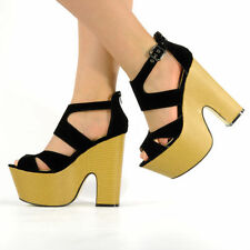 Womens Ladies Midi Demi Wedge Chunky High Heel Ankle Strap Party Shoes Size 3-8 Black Suede UK 4 EU 37
