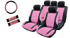 PINK / BLACK Leather Look, Front + Rear Seat Covers + Steering, Seat Belt Covers