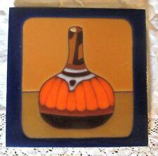 HAND PAINTED TILE-Square Orange Pottery Trivet, Gourd or Vase Design, Sun Tile
