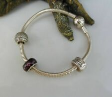 PANDORA Armband mit 3 Beads Charms in 925 Sterling Silber 17 cm