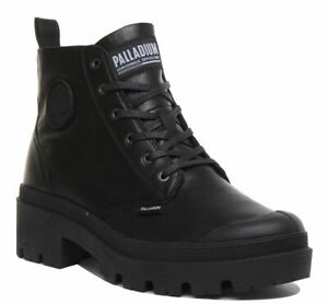 Palladium Plbase Lth In Black Pallabrouse Side Zip Lace Up Size UK 3 - 8