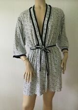 Aria Cotton Blend White w/ Black Floral Crochet Lace Trim Belted Robe (Size L)