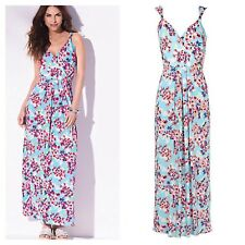 Kaleidoscope Size 12 Blue Multi Floral Print Summer Maxi DRESS Holiday Fab £45