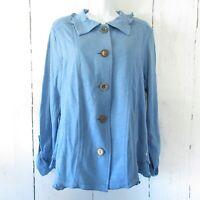 New Neon Buddha Free Falling Jacket L Large Bashful Blue Button Up Ruffle Artsy