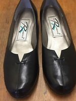 Ros Hommerson 7.5N Black Leather Loafers Flats Shoes