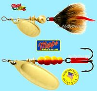 Mepps Aglia Gold Blade Spinner Fishing Lure - Choice of Qty, Tail, Size & Weight