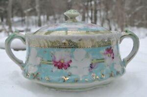 Antique Hand Painted Decorative Porcelain Biscuit Cracker Cookie Jar
