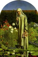 CONVENT THOUGHTS RELIGIOUS NUN GARDEN PAINTING BY CHARLES ALLSTON COLLINS REPRO