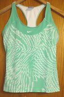 Nike Women's Medium 8-10 mint green white running fitted tank top racer back