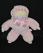 Peluche doudou poupée poupon COROLLE rose fleurs ruban rose grelot 26 cm TTBE