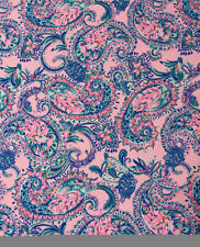 "Lilly Pulitzer Cotton Poplin Fabric Pink Tropics Tint Tangerine Dream 36"" X 57"""