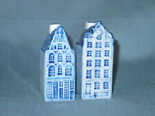 Delft Blue Ceramic Hand Painted Houses Salt & Pepper Shakers Holland 191 192