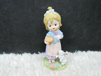 Lefton #2891 Handpainted Girl with Basket and Rabbit Figurine, Collectible Decor