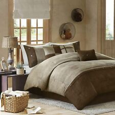Madison Park Boone King Size Bed Comforter Set Bed in A Bag - Brown, Textured.