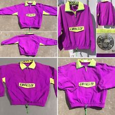 Vintage Connelly Skis Neon Yellow Purple Green Pull Over Windbreaker Jacket S/M
