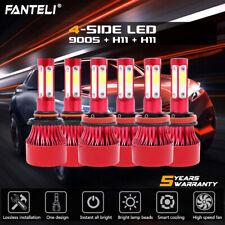9005+H11+H11 4-Side LED Headlight Hi/Lo+Fog Light for Honda Accord 13-2015 6600W