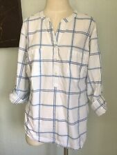 White Top Size XL 18 20 Blue Check Roll Tab Sleeve Tunic By Per Se (D052)
