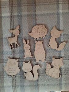 Large 100mm Wooden MDF Woodland Animal shapes craft Shapes x 8 Embellishments